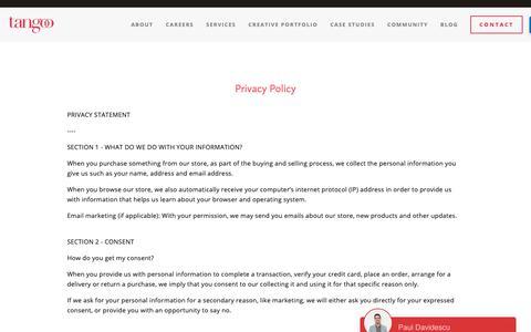 Screenshot of Privacy Page tangoo.ca - Privacy Policy — Tangoo | Vancouver Restaurant Social Media, PR, Creative Marketing Agency - captured Oct. 20, 2018