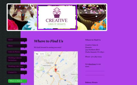 Screenshot of Maps & Directions Page creativecakesnepa.com - Creative Cakes & Desserts - Where to find us - captured April 23, 2017