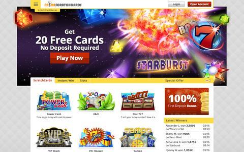 Screenshot of primescratchcards.com - Online Scratch Cards – 20 FREE Games | PrimeScratchCards - captured March 19, 2016