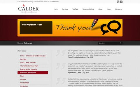 Screenshot of Testimonials Page calderservices.co.uk - Calder Services – Heating Plumbing Electrics Clitheroe Ribble Valley Lancashire  » Testimonials - captured Sept. 27, 2014