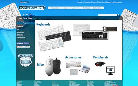 Screenshot of Products Page man-machine.com - Man & Machine :: Medical Keyboard, Hygienic, Waterproof  Keyboard, Industrial Waterproof, Liquid proof, Industrial PC Keyboards and Mice; RIM BlackBerry External Keyboard - captured Oct. 3, 2014