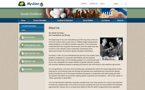 Screenshot of About Page hyline.com - Hyline: About Us,chickens,genetics,poultry,eggs,diseases,technology,breeds,farming,egg production - captured Sept. 30, 2018
