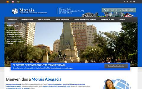 Screenshot of Home Page moraisabogacia.com - Morais   Advocacia & Consultoria Internacional - captured Oct. 8, 2014