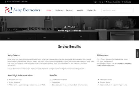 Screenshot of Services Page aalap.com - Aalap Electronics   Services - captured Feb. 5, 2016