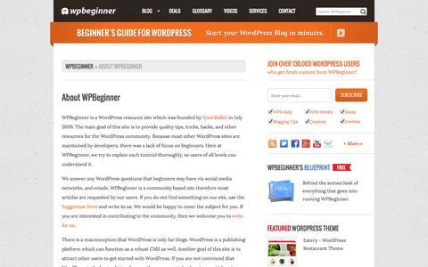 Screenshot of About Page wpbeginner.com - About WPBeginner - captured Sept. 19, 2014