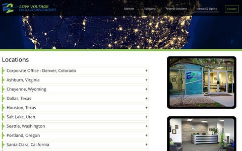 Screenshot of Locations Page e2optics.com - Locations - E2 Optics - captured June 30, 2016