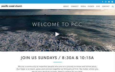 Screenshot of Home Page pacificcoastchurch.org - Home - Pacific Coast Church in San Clemente - captured Nov. 4, 2018