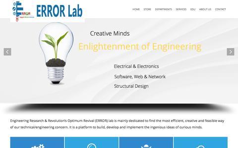 Screenshot of Home Page error-lab.com - ERROR Lab | Engineering Research & Revolution's Optimum Revival (ERROR) lab - captured Sept. 25, 2014