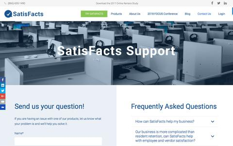 Screenshot of Support Page satisfacts.com - Support - SatisFacts - captured Oct. 5, 2017