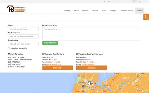 Screenshot of Contact Page hbhousing.nl - Contact opnemen met HBHousing - captured July 9, 2016