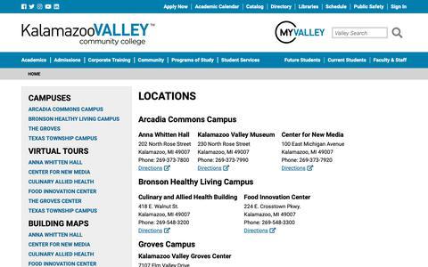 Screenshot of Locations Page kvcc.edu - Locations - Kalamazoo Valley Community College - captured Oct. 14, 2018