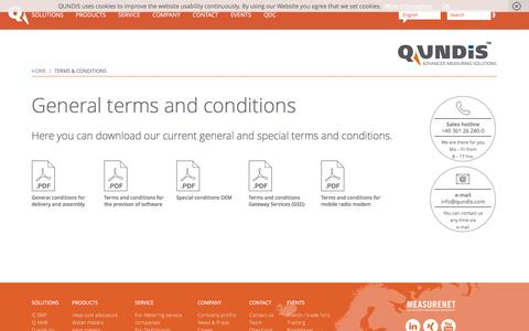Screenshot of Terms Page qundis.com - Terms & Conditions - QUNDIS - captured Oct. 25, 2016