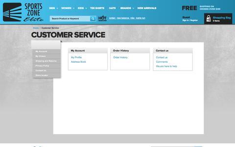 Screenshot of Support Page sportszoneelite.com - Customer Service - captured Sept. 19, 2014