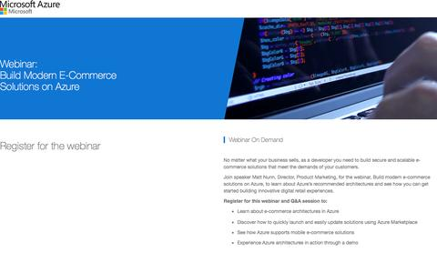 Screenshot of Landing Page microsoft.com - Build Modern E-Commerce Solutions on Azure | Microsoft - captured Oct. 23, 2016