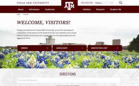 Visitors - Texas A&M University, College Station, TX
