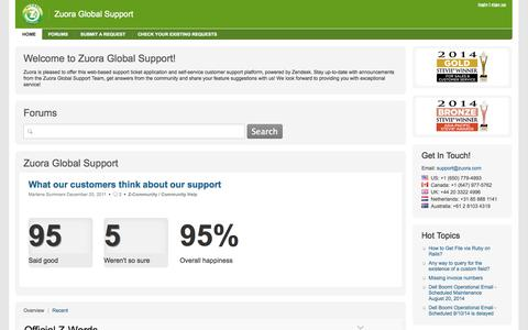 Screenshot of Support Page zuora.com - Zuora Global Support - captured Sept. 17, 2014
