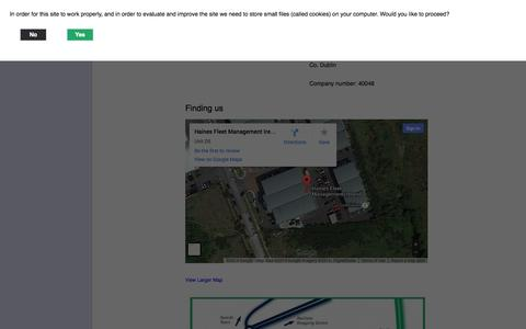 Screenshot of Contact Page hainesfleet.ie - Contact | Haines Fleet - captured Oct. 1, 2014