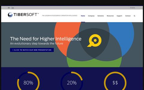 Screenshot of Home Page tibersoft.com - Tibersoft Corporation | THE LEADER IN FOODSERVICE OPERATOR INTELLIGENCE - captured Sept. 17, 2014