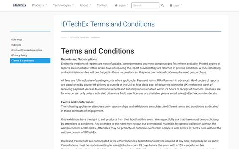 Screenshot of Terms Page idtechex.com - IDTechEx Terms and Conditions - captured Jan. 8, 2020