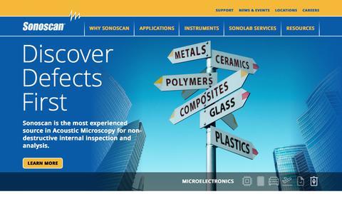 Screenshot of Home Page sonoscan.com - Acoustic Microscopy   NDT   Ultrasonic Testing - Sonoscan, Inc. - captured Oct. 22, 2017