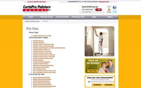 Screenshot of Site Map Page certapro.com - CertaPro Painters Exterior House Painting Colors, Interior Painting Color Ideas, Interior Painting Color Scheme, Interior Painting Colors, Exterior House Painting Ideas - captured Sept. 25, 2014