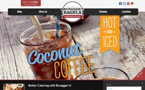 Screenshot of Home Page brueggers.com - Authentic New York Style - Bruegger's - captured Sept. 13, 2015