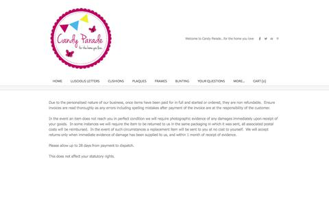 Screenshot of Terms Page candyparade.co.uk - Terms & Conditions - Candy Parade - captured Sept. 26, 2014