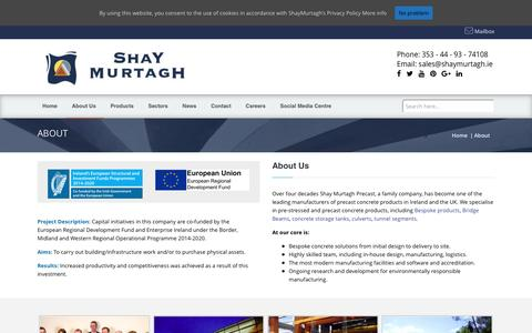 Screenshot of About Page shaymurtagh.ie - Precast Concrete Solutions - ShayMurtagh.ie - captured June 11, 2016