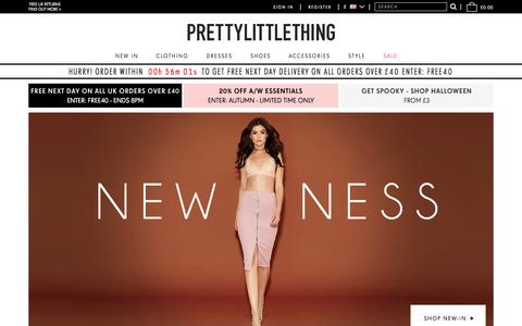 Screenshot of Home Page prettylittlething.com - Womens Clothes Online - Fashion Clothing & Dresses    PrettyLittleThing.com - captured Oct. 7, 2015