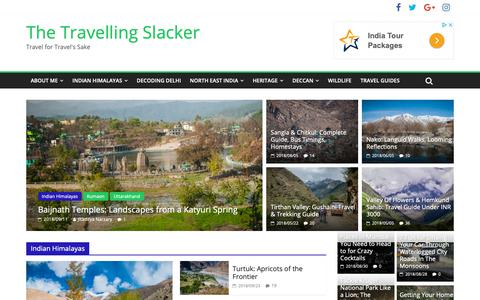 Screenshot of Home Page travellingslacker.com - Backpacking, Travel and Photography in the Indian hinterlands - captured Oct. 26, 2018