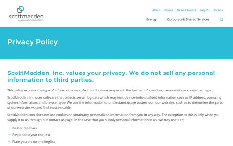 Screenshot of About Page scottmadden.com - Privacy Policy | ScottMadden - captured Nov. 10, 2016
