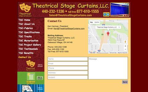 Screenshot of Contact Page theatricalstagecurtains.com - Theatrical Stage Curtains, LLC. - Contact Us - captured Dec. 23, 2016