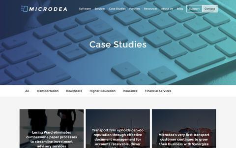 Screenshot of Case Studies Page microdea.com captured Nov. 3, 2014