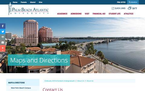Screenshot of Contact Page pba.edu - Contact Us | Palm Beach Atlantic University - captured Sept. 23, 2018