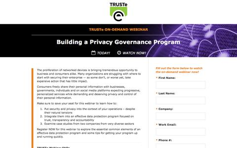 Screenshot of Landing Page truste.com - [On-Demand Privacy Webinar] Building a Privacy Governance Program - captured Nov. 3, 2016