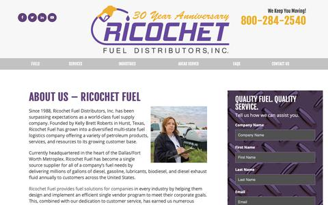 Screenshot of About Page ricochetfuel.com - About Us | SBE, WBE, HUB in Texas | Ricochet Fuel Distributors - captured Oct. 18, 2018
