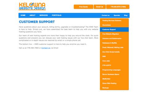 Screenshot of Support Page kelownawebsitedesign.com - Customer Support | Kelowna Website Design - captured Sept. 30, 2014