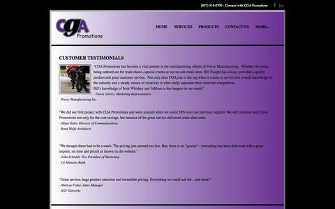 Screenshot of Testimonials Page teamcga.com - Testimonials - CGA Promotions - captured Oct. 1, 2014