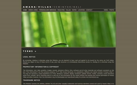 Screenshot of Terms Page amanavillas.com - AMANA VILLAS SEMINYAK BALI / Villa Website Terms in Seminyak Bali - captured Sept. 30, 2014