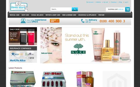 Screenshot of Home Page dawastore.com - Home page - captured Sept. 30, 2014