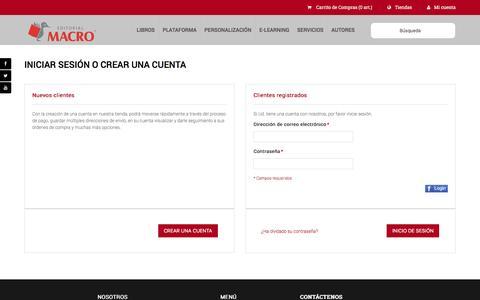 Screenshot of Login Page editorialmacro.com - Inicio de sesión del cliente - captured Nov. 7, 2016
