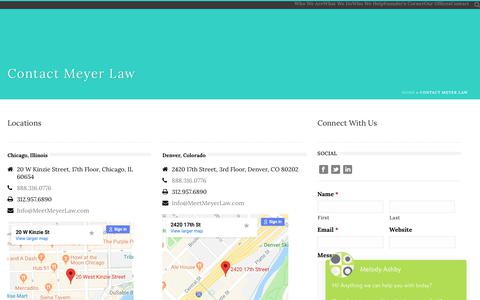 Screenshot of Contact Page meetmeyerlaw.com - Contact - Meyer Law - captured Dec. 20, 2018