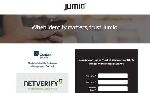 Screenshot of Landing Page jumio.com - When Identity Matters - Meet Jumio at Gartner IAM - captured May 5, 2018