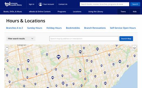 Screenshot of Locations Page torontopubliclibrary.ca - Home : Toronto Public Library - captured Oct. 25, 2019