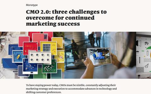 Screenshot of Landing Page monotype.com - CMO 2.0: three challenges to overcome for continued marketing success   Monotype - captured Sept. 19, 2018