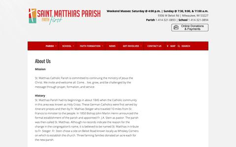 Screenshot of About Page stmatthias-milw.org - About Us – St. Matthias Catholic Parish - captured Oct. 18, 2018