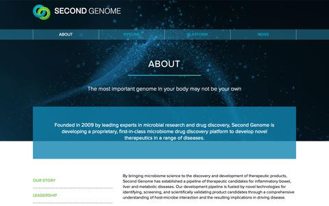 Screenshot of About Page secondgenome.com - Second Genome | About - captured Jan. 11, 2019
