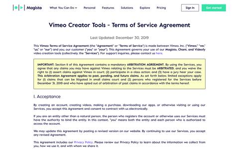 Screenshot of Terms Page magisto.com - Vimeo Creator Tools | Terms of Service - captured Jan. 14, 2020
