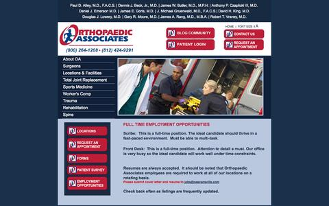 Screenshot of Jobs Page oaevansville.com - Employment Opportunities | Orthopaedic Associates, Inc. - captured Oct. 7, 2014