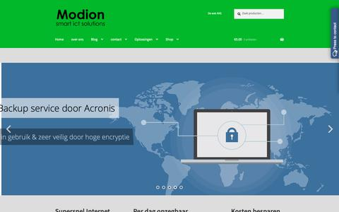Screenshot of Home Page modion.com - - Modion smart ict solutions - captured Oct. 19, 2018